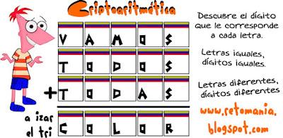Criptoaritmética, Alfamética, Descubre el número, Jugando con letras, Criptogramas, Criptosuma