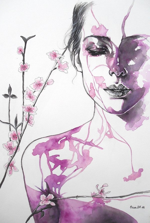 01-Blooming-Flowers-Erica-Dal-Maso-Expressing-Emotions-Through-Watercolor-Paintings-www-designstack-co