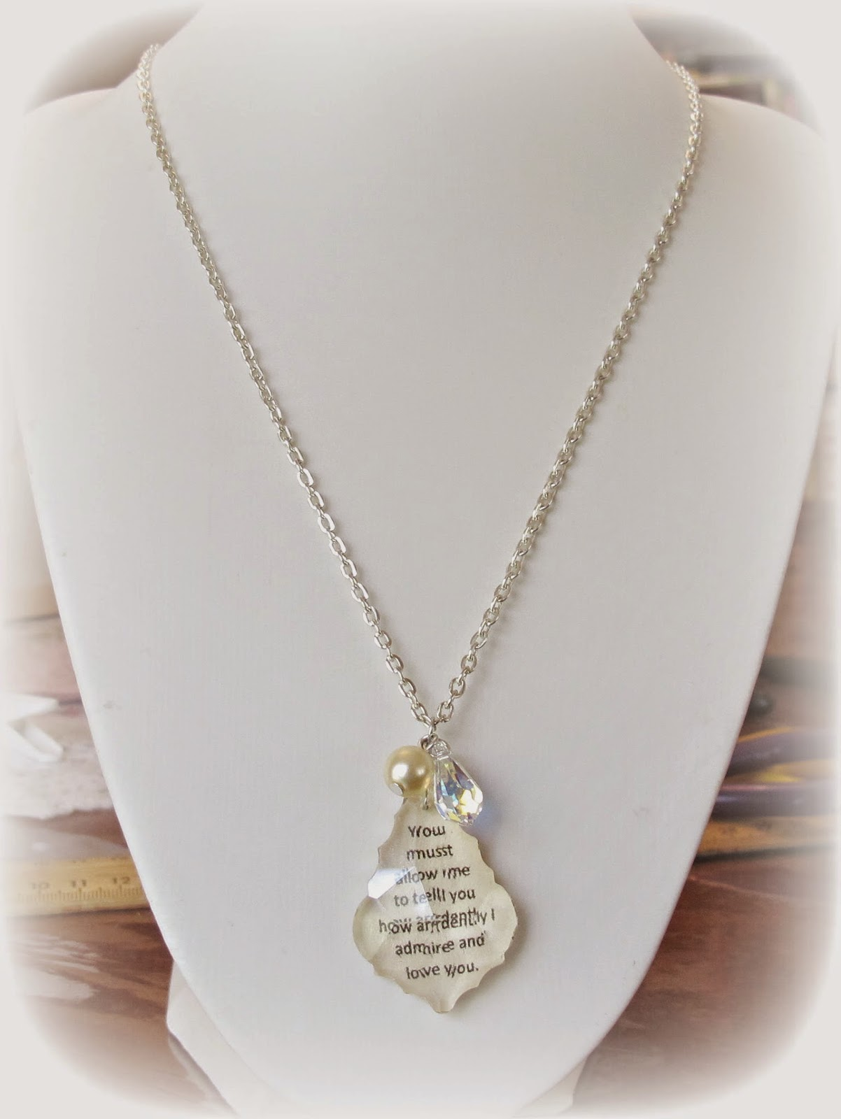 image mr darcy necklace bridal wedding pride and prejudice jane austen swarovski crystal cream pearl baroque faceted chandelier pendant you must allow me to teel you how ardently i admire and love you