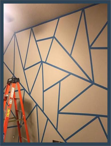 como pintar paredes con triangulos