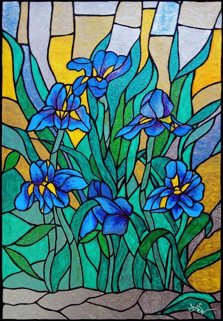 Blue Flag Iris Art