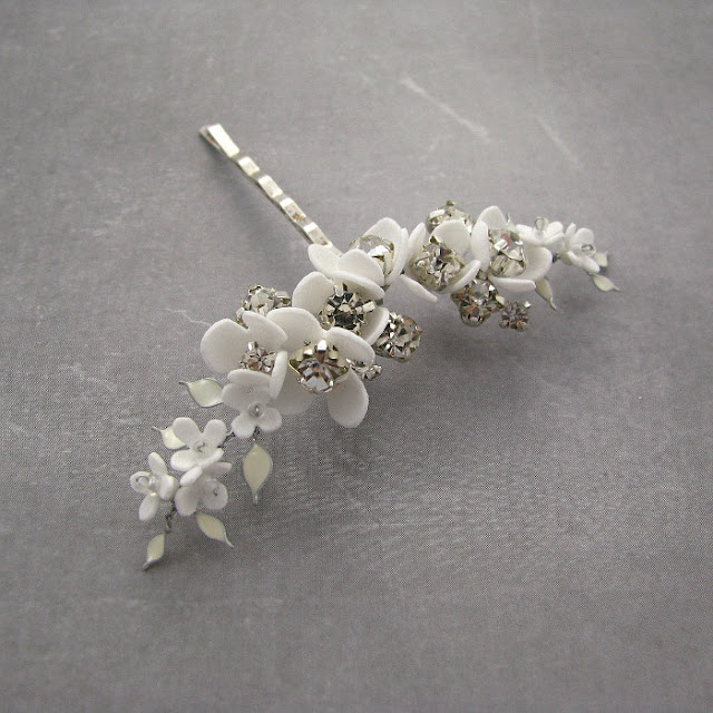 Gałązki wiśni wsuwka ślubna