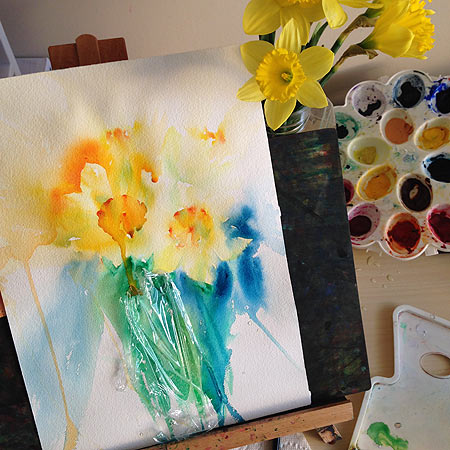 Original daffodils watercolor painting by Olga Peregood for LIVE demonstration on Periscope.  Still wet