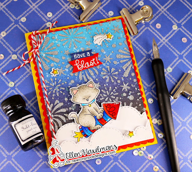 Have a blast! Card by Ellen Haxelmans | Newton's 4th of July Stamp Set, Fireworks Stencil and Sky Borders Die Set by Newton's Nook Designs #newtonsnook