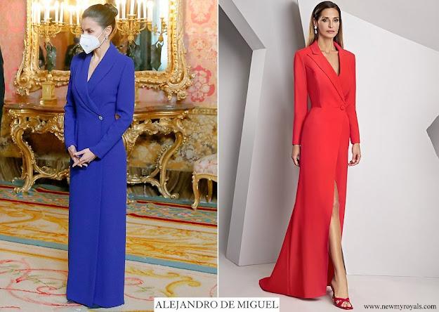 Queen Letizia wore Alejandro de Miguel Long Dress