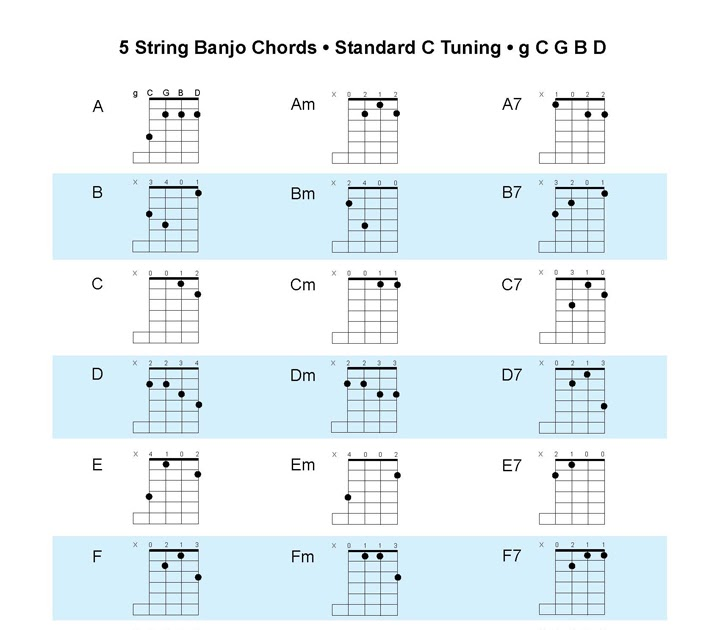 acoustic music tv new banjo chord chart c tuning or standard tuning. Black Bedroom Furniture Sets. Home Design Ideas