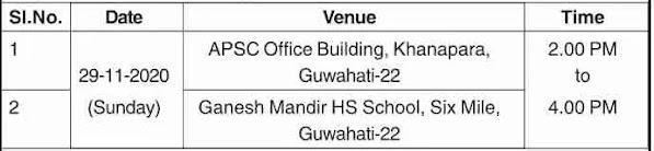 APSC Assam Screening Test Date & Venue