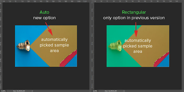 comparison new versus old option to automatically pick sample area