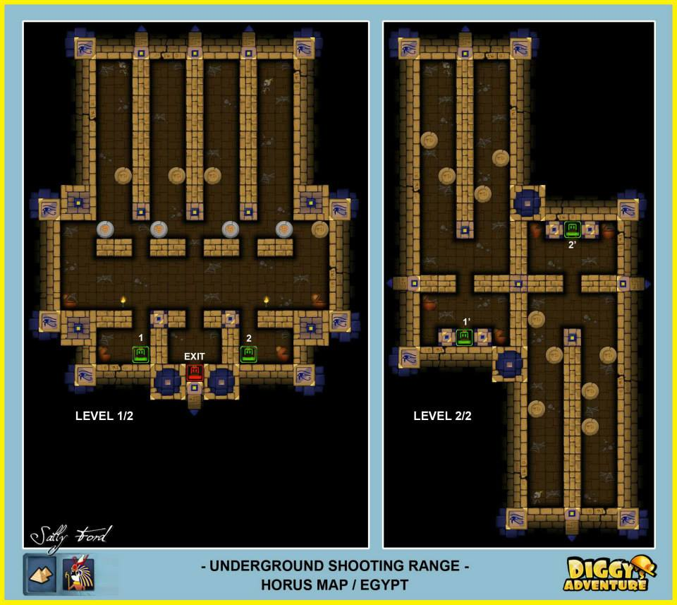Diggy's Adventure Walkthrough: Horus Egypt Quests / Underground Shooting Range