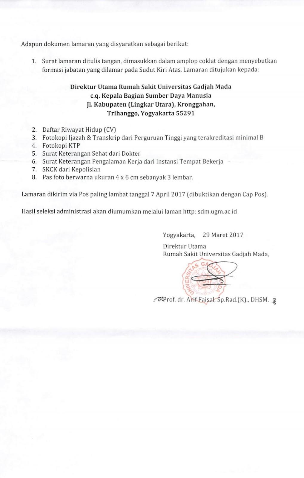 Lowongan Kerja Non PNS di Rumah Sakit Universitas Gajah ...