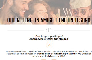 Sortean tarjetas regalo de 100€ para Amazon