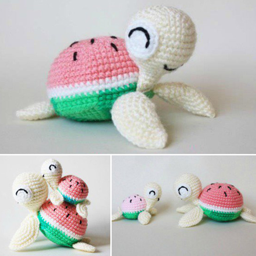 Watermelon Turtles Amigurumi - Free Pattern