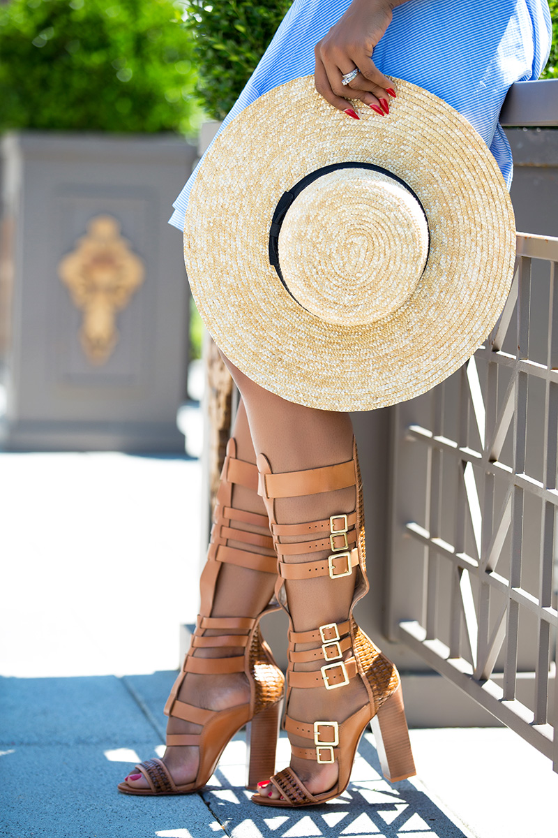 schutz gladiator sandals, lack of color straw hat, www.jadore-fashion.com