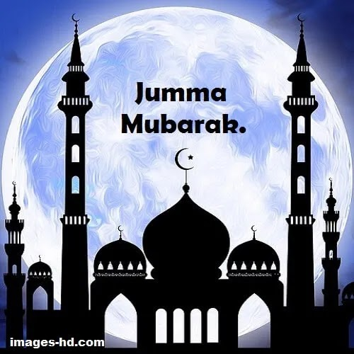 full moon with mosque as Jumma Mubarak DP