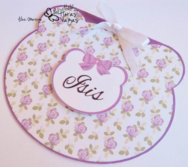 convite aniversário infantil 1 aninho ursinho floral provençal lilás bebê delicado urso