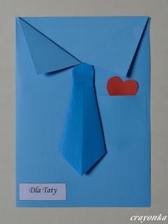 kartka - koszula z krawatem z origami na Dzień Ojca