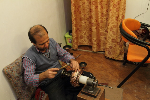 Yazd Coppersmith artisan at work