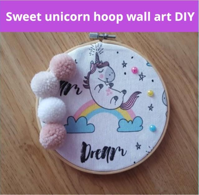 Sweet unicorn hoop wall art DIY