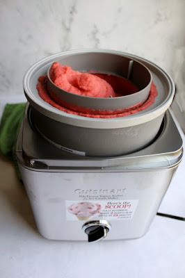 fresh churned strawberry sorbet in cuisinart ice cream maker