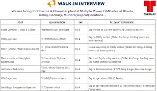 ITI and Diploma Candidates Hiring for Pharma & Chemical Plant  at Multiple Power O&M sites Gujarat