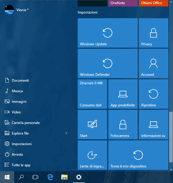 Menu Start Windows 10 con pulsanti collegamento impostazioni