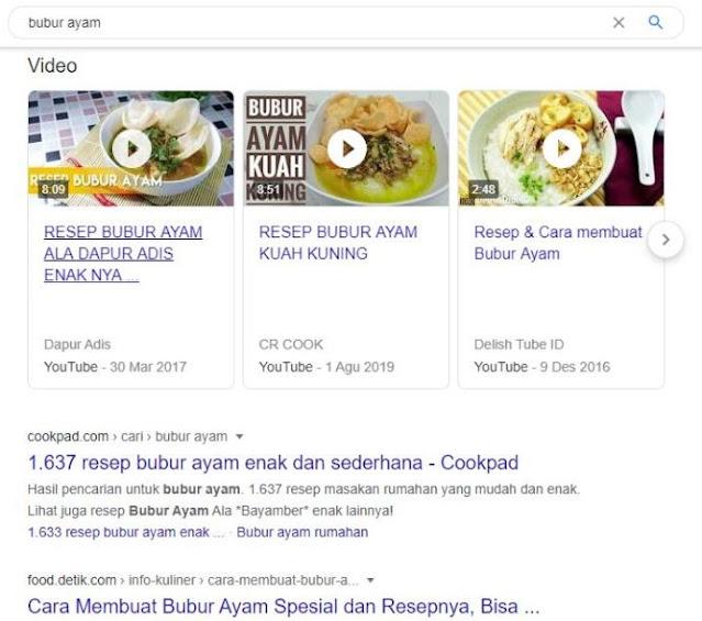 resep bubur ayam Google Search Engine Optimization