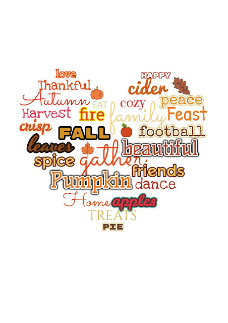 Fall Printable with Words in Heart Shape