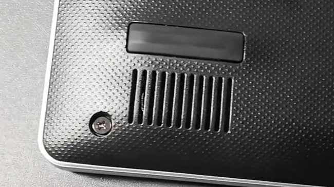 A down-firing speaker of this laptop placed at front corners underneath.