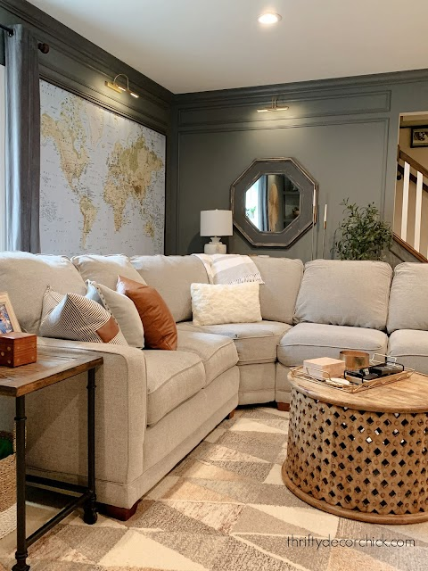 Large gray sectional with chaise