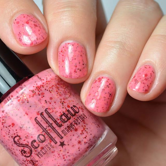 coral red creme with red caramel and brown glitter