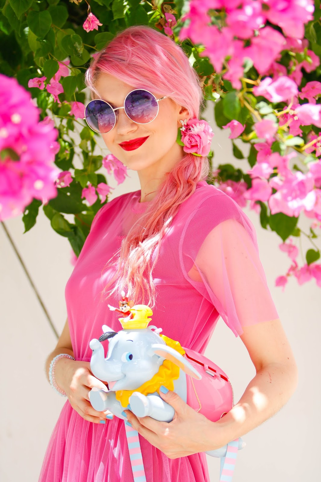 Cute Pink outfit with Dumbo popcorn bucket