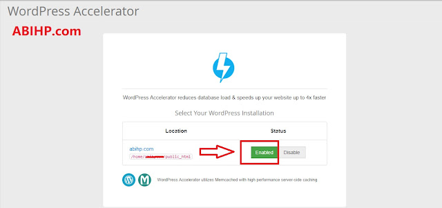 Enable WordPress Accelerator