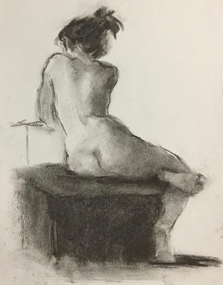 Nude facing away, seated on a stool covered with cloth,