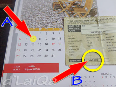 Kalender dan Lembar Pajak Kendaraan (Motor)