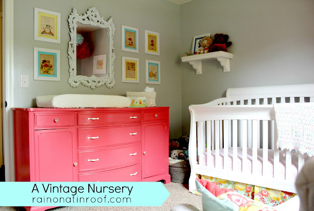 A Vintage Nursery {rainonatinroof.com} #vintage #nursery #baby #girl