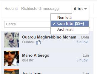 messaggi con filtri facebook
