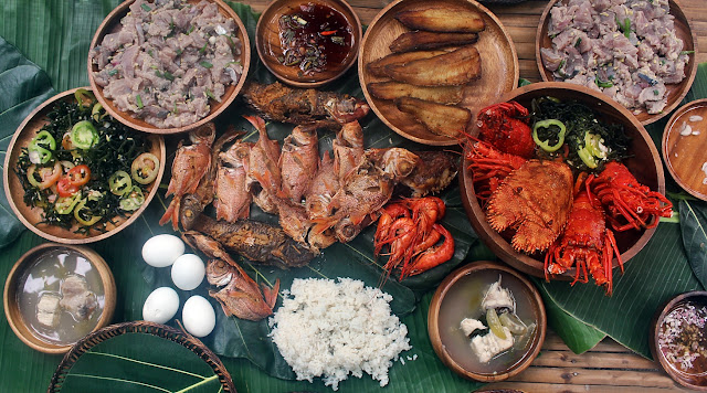 a feast of lobsters, curache and other fresh seafood in Calayan Island