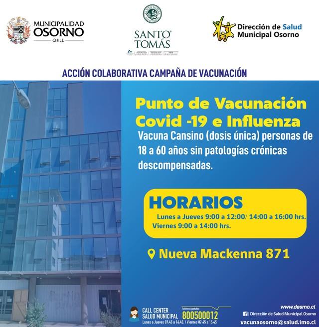Osorno suma nuevo vacunatorio contra el Covid-19 e influenza