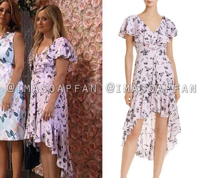 Lulu Spencer Falconeri, Emme Rylan, Ruffled Light Pink and Black Floral Print Chiffon Dress, General Hospital, GH, wedding
