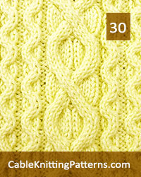 Cable Panel 30. Knit with 41 stitches and 16-row repeat. Techniques used: 3/3 right cross, 3/3 left cross, 2/2 right cross, 2/2 left cross, 3/1/3 left purl cross.