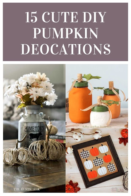 15 cute DIY pumpkin decor ideas. Get ideas for easy and cheap DIY fall decor projects for indoor or outdoor for front porches. These crafts can decorate the home or make them to sell. Use them as centerpieces or for living room. These tutorials are rustic and great for farmhouse decor on a budget. Tutorials for simple projects for the home with wood or fabric or yarn. Some use a Cricut.  #fall #pumpkin #diy