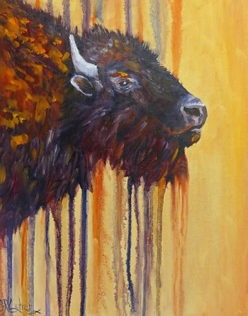 Buffalo Mania original oil painting