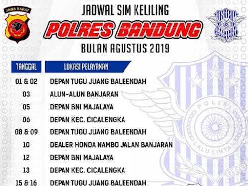 Jadwal SIM Keliling Polres Bandung Bulan Agustus 2019