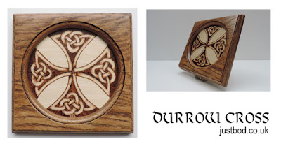 Durrow Cross hand burnt celtic knotwork design