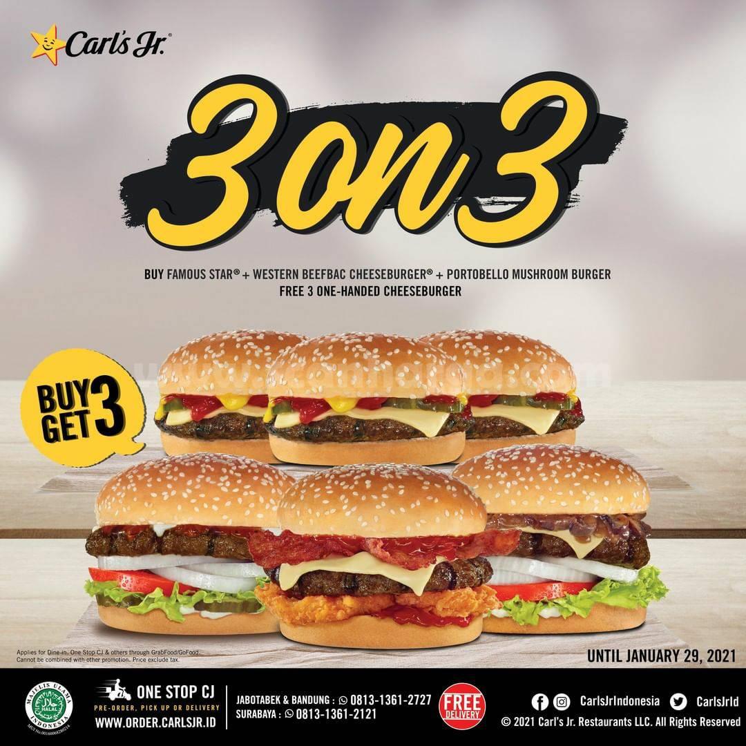 CARL'S JR Promo 3 ON 3! Beli 3 GRATIS 3 Via GRABFOOD & GOFOOD