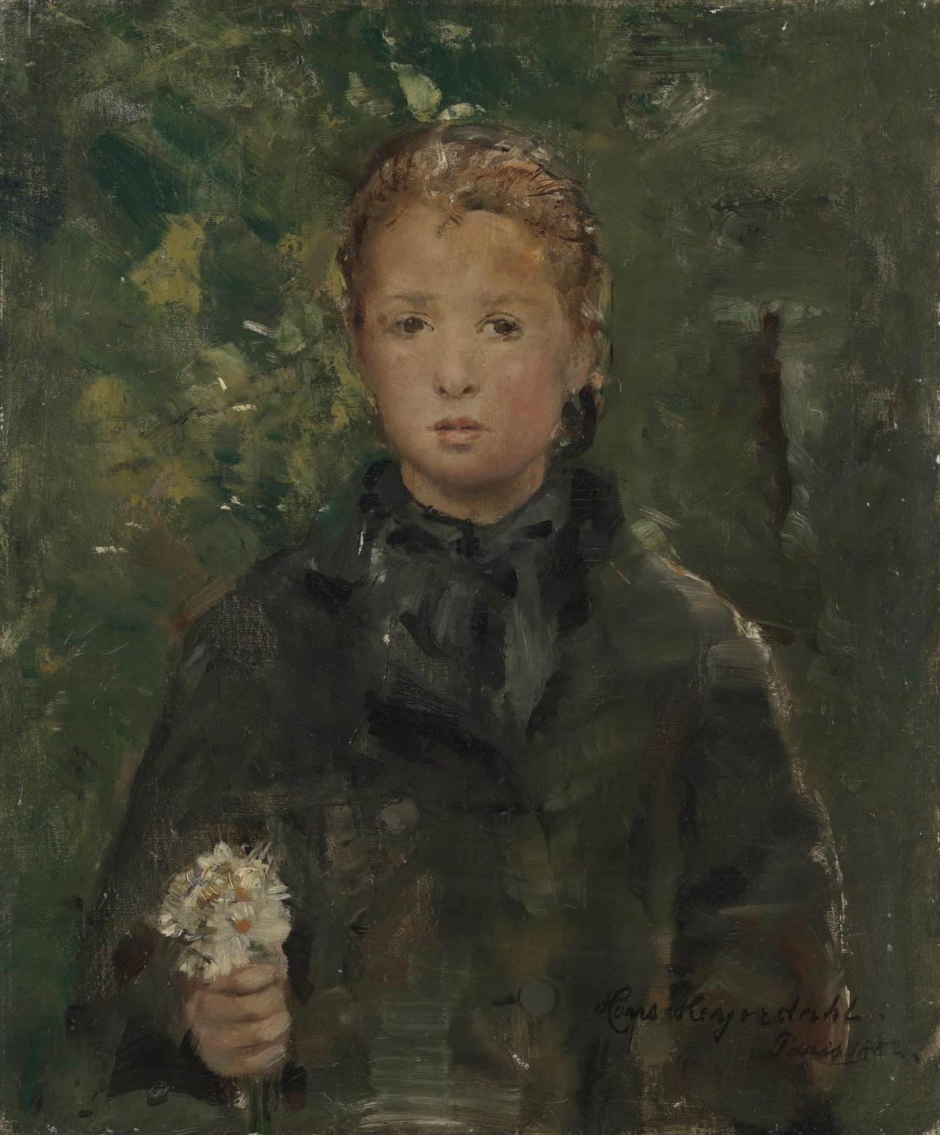 Hans Heyerdahl Portrait of a Girl with a unch of Flowers C