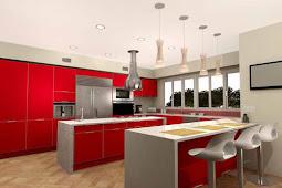 Dapur Cantik Dengan Desain Warna Merah