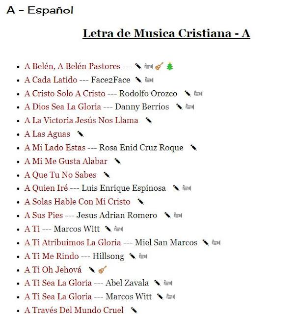 Letras de Musica Cristiana - A