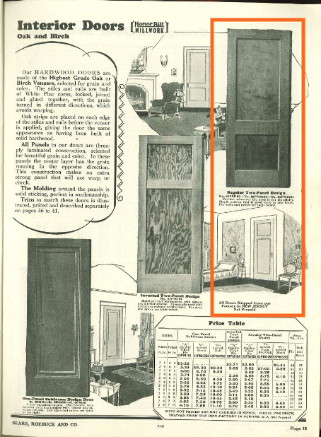 page of 1930 Sears building supplies catalog showing interior doors