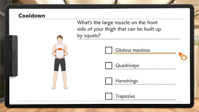 Ring Fit Adventure cooldown pop quiz large muscle front side of thigh squats